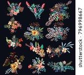 set of vector decorative flowers | Shutterstock .eps vector #796998667