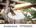 shot of vintage axe cut in a... | Shutterstock . vector #797006005