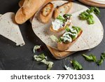 sandwiches with fresh herbs ... | Shutterstock . vector #797013031