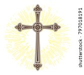 silhouette of ornate cross with ... | Shutterstock .eps vector #797018191