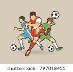 three soccer player team... | Shutterstock .eps vector #797018455
