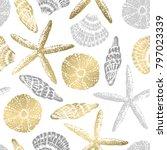 gold sea stars seamless vector... | Shutterstock .eps vector #797023339