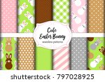 cute set of easter seamless... | Shutterstock .eps vector #797028925