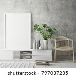 mock up poster frame in hipster ... | Shutterstock . vector #797037235