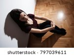 lonely depressed young woman... | Shutterstock . vector #797039611