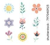 vector scandinavian herbs and... | Shutterstock .eps vector #797040925