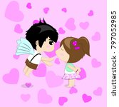 romance boy and girl are... | Shutterstock .eps vector #797052985