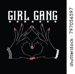 girl gang.fashion slogan for t... | Shutterstock .eps vector #797056597