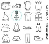 baby clothes icons set.clothing ... | Shutterstock . vector #797066491