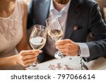 young couple with glasses of... | Shutterstock . vector #797066614