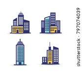 building vector icon set... | Shutterstock .eps vector #797074039
