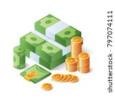pile of cash and gold coins....   Shutterstock .eps vector #797074111