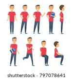 young man character set in flat ... | Shutterstock . vector #797078641