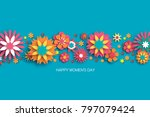 colorful 8 march. happy women s ... | Shutterstock .eps vector #797079424
