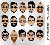 a set of men's faces with... | Shutterstock .eps vector #797083801