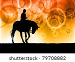 Black Silhouette Of Girl On Th...