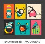 set of six retro postage s... | Shutterstock .eps vector #797090647
