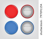 3d red and blue pin button... | Shutterstock .eps vector #797091154