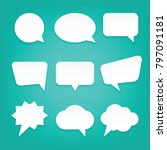 blank empty white speech bubbles | Shutterstock .eps vector #797091181