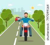 young man riding a motorcycle.  ... | Shutterstock .eps vector #797099164