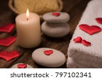 wellness decoration on wooden... | Shutterstock . vector #797102341