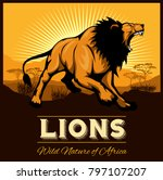 Lions   Ethnic Poster. Vector...