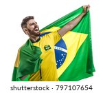 Stock photo brazilian athlete fan celebrating on white background 797107654