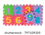 foam puzzle numbers isolated on ... | Shutterstock . vector #797109205