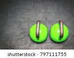 two green kettlebells on the... | Shutterstock . vector #797111755
