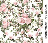 seamless pattern with leaves... | Shutterstock . vector #797130025