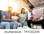 a family with a little girl is...   Shutterstock . vector #797132245