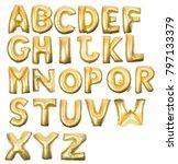 golden inflatable letter...   Shutterstock . vector #797133379