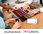 the seller shows samples of... | Shutterstock . vector #797134051