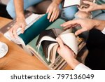 the guy is holding leather... | Shutterstock . vector #797136049