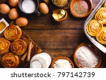table full of ingredients for... | Shutterstock . vector #797142739