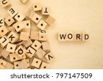 Small photo of Word Word Written In Wooden Cube