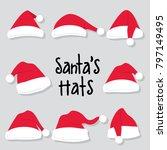 santas hats design collection... | Shutterstock .eps vector #797149495