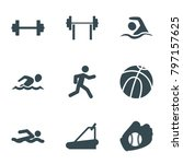 athletic icons. set of 9... | Shutterstock .eps vector #797157625