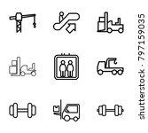 lift icons. set of 9 editable... | Shutterstock .eps vector #797159035