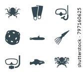 Underwater Icons. Set Of 9...
