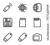 memory icons. set of 9 editable ... | Shutterstock .eps vector #797160949