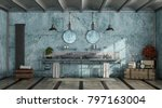blue retro bathroom with double ... | Shutterstock . vector #797163004