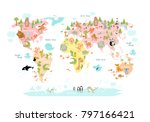 vector map of the world with... | Shutterstock .eps vector #797166421