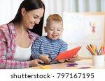 mother with kid boy fun cut... | Shutterstock . vector #797167195