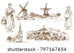 traditional dressed dutch girl... | Shutterstock .eps vector #797167654