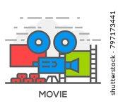 movie flat line concept... | Shutterstock .eps vector #797173441