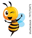 cartoon cute bee showing... | Shutterstock .eps vector #797173471