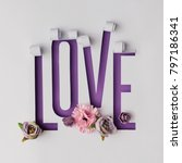 word love made of torn paper on ... | Shutterstock . vector #797186341