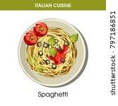 italian cuisine spaghetti pasta ... | Shutterstock .eps vector #797186851