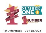 number one emblems set with...   Shutterstock .eps vector #797187025